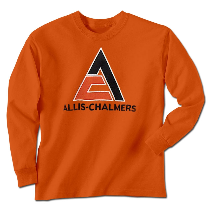 Allis Chalmers Men's Orange Worn Triangle Logo Long Sleeve T-Shirt