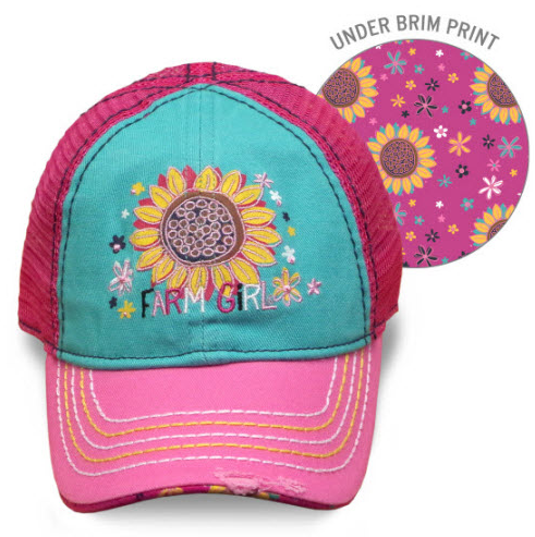 Farm Girl Youth Sunflower Mesh Cap