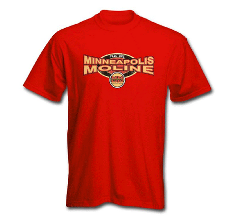 DAMAGED Minneapolis Moline Men's Red Squeezed Logo T-Shirt