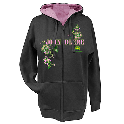 John Deere Flowers And Sequins Zip Hoodie