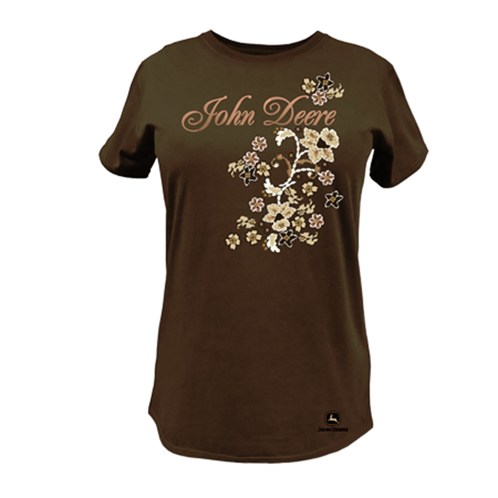 John Deere Script And Flowers T-Shirt