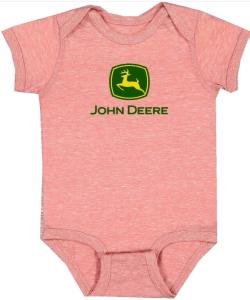 John Deere Pink Logo Onesie
