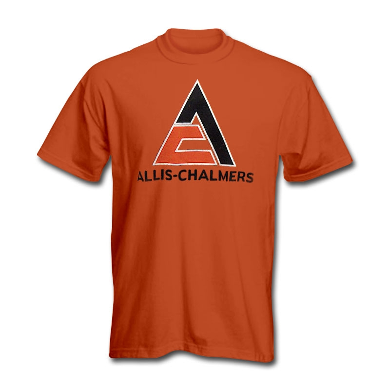 Allis Chalmers Men's Orange Worn Triangle Logo T-Shirt