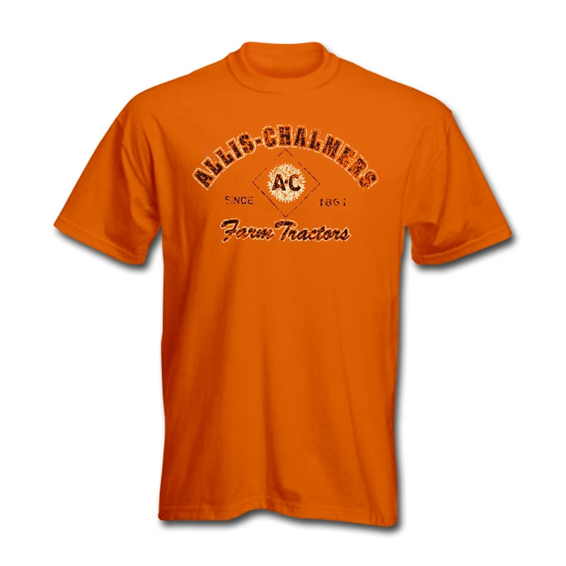 Allis Chalmers Men's Orange Weathered Logo T-Shirt