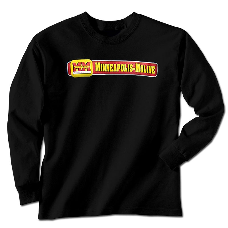 Minneapolis Moline Men's Black Horizontal Logo Long Sleeve T-Shirt