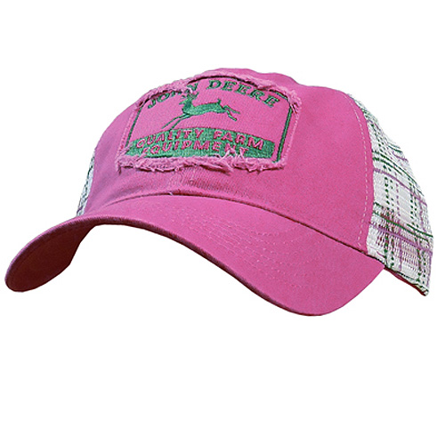 John Deere Distressed Patch Plaid Cap