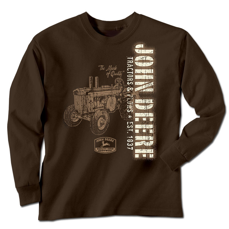 John Deere Tractors And Plows Vertical Print Long Sleeve T-Shirt