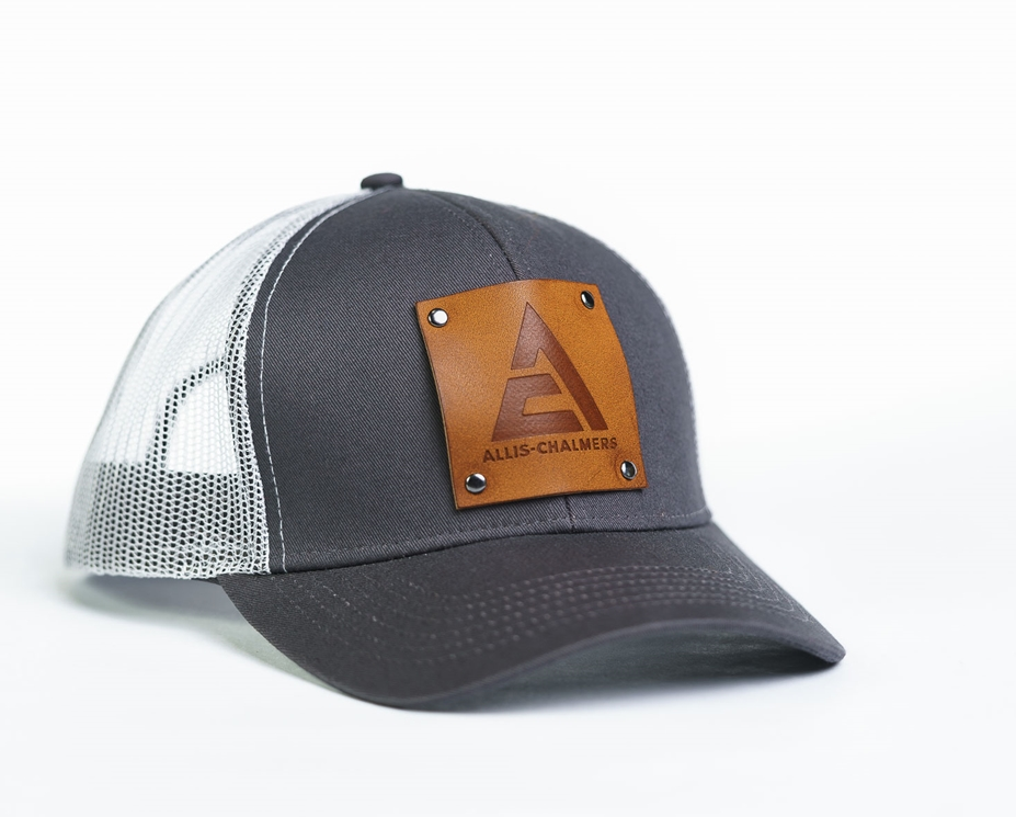 Allis Chalmers Leather Emblem Gray/White Mesh Cap