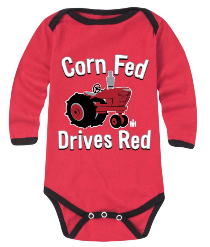 Case IH Corn Fed Drives Red Long Sleeve Onesie