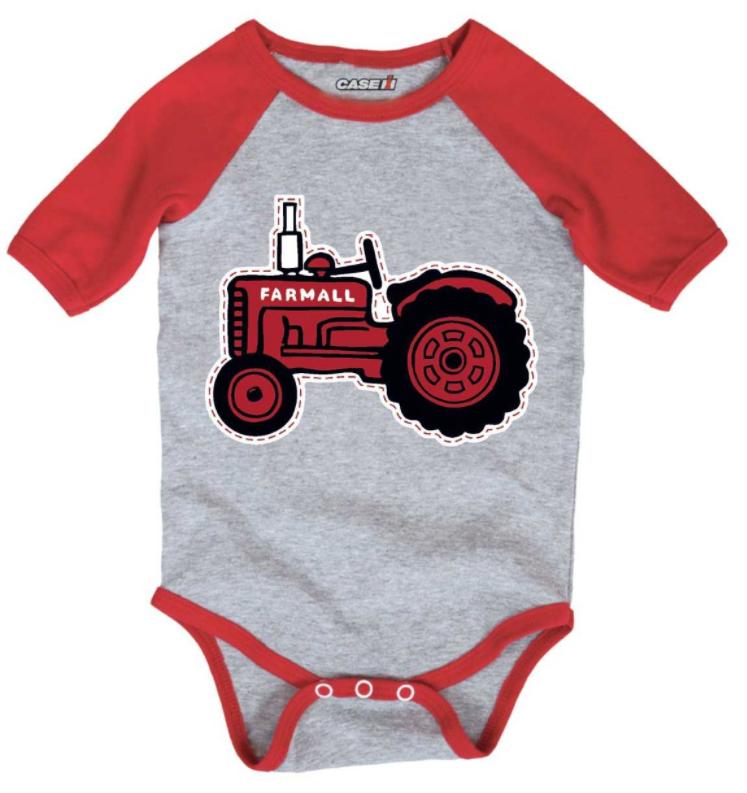 Case IH Stitched Tractor Raglan Onesie