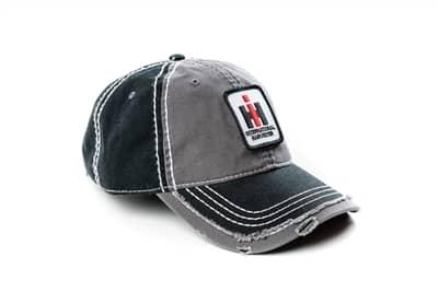 International Harvester Logo Hat Gray and Black Distressed