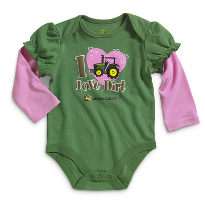 John Deere I Love Dirt Long Sleeve Onesie