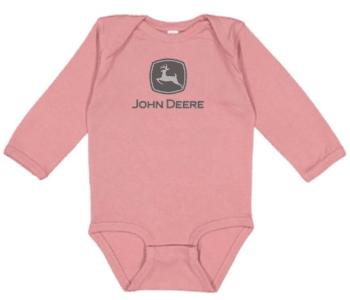 John Deere Pink Logo Long Sleeve Onesie