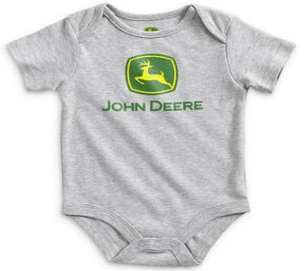 John Deere Grey Logo Onesie