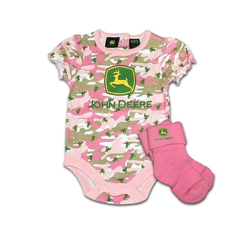 John Deere Logo Onesie And Socks Set