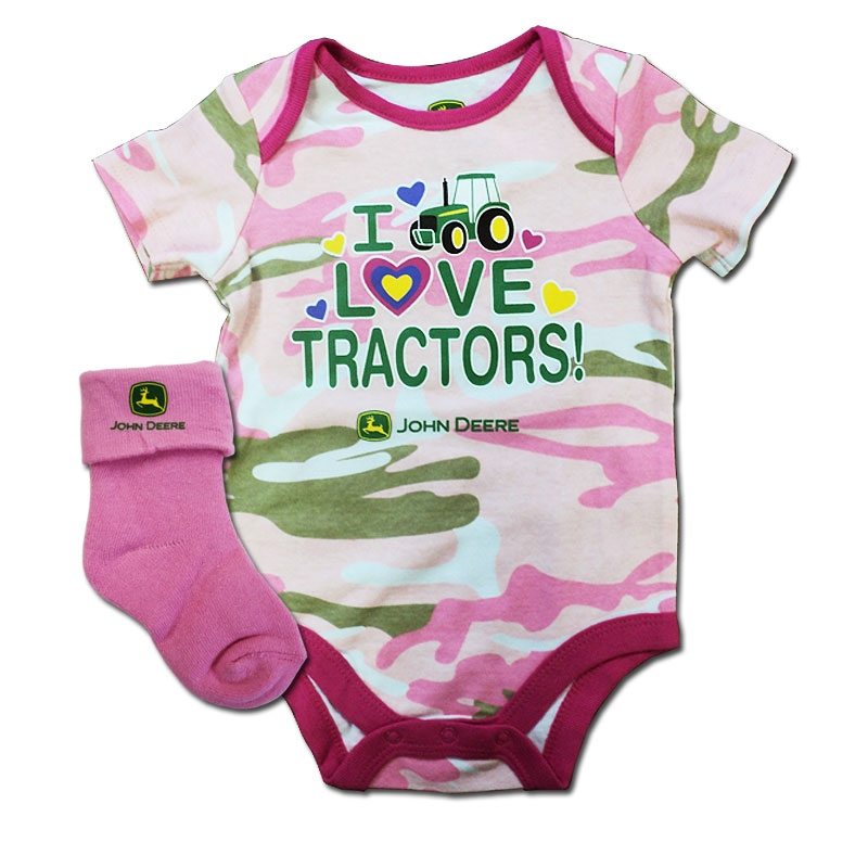John Deere I Love Tractors Onesie And Socks Set