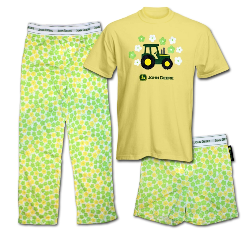 John Deere Tractor And Flowers Pajamas Set