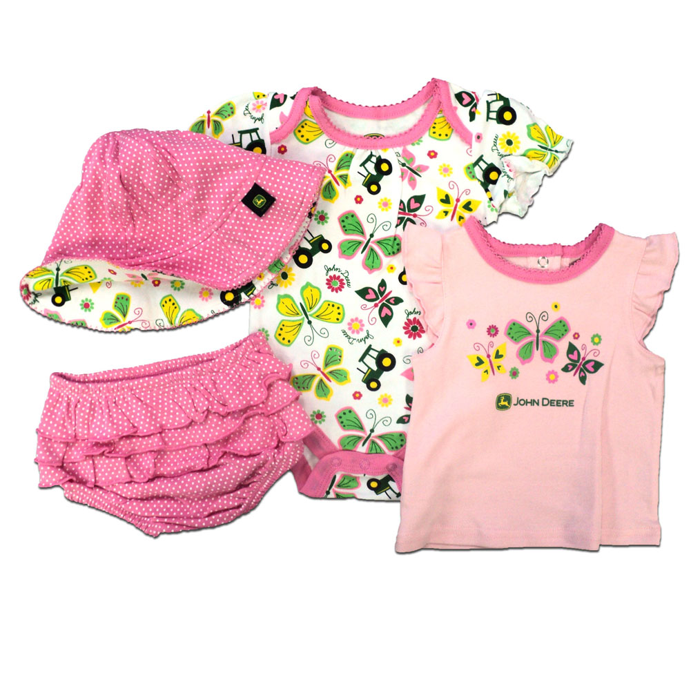 John Deere Tractors And Butterflies Four Piece Set
