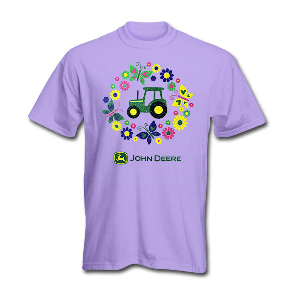 John Deere Tractor And Butterfly Circle T-Shirt